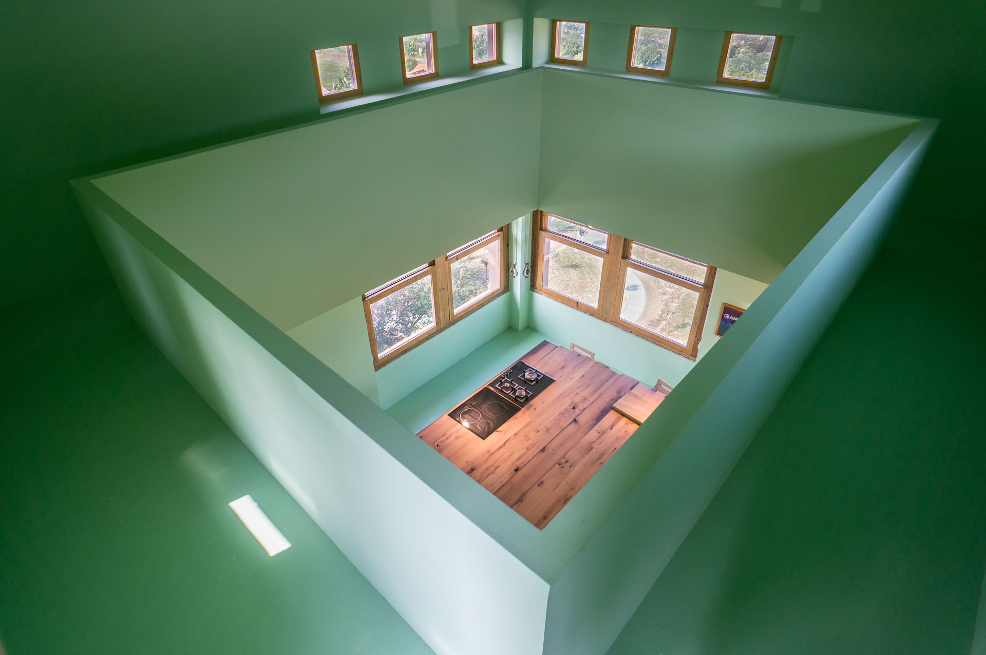 Top-view-of-the-green-kitchen